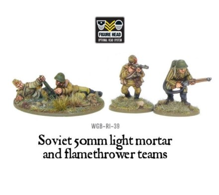 Soviet Soviet 50mm light mortar and Flamethrower teams Bolt Action Warlord Games 28mm