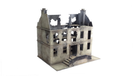 CITY BLOCK DESTROYED TOWNHOUSE DORMER 28mm MDF Building Sarissa Precision C106