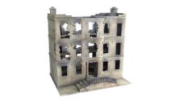 CITY BLOCK DESTROYED TOWNHOUSE 3 STOREY 28mm MDF Building Sarissa Precision C107