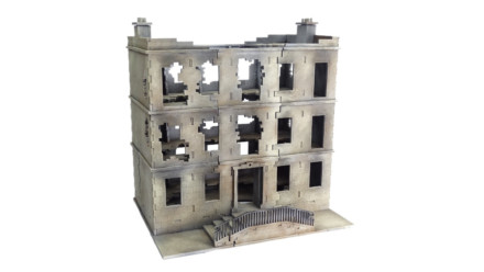 CITY BLOCK DESTROYED TOWNHOUSE 3 STOREY 28mm Laser Cut MDF Building C107