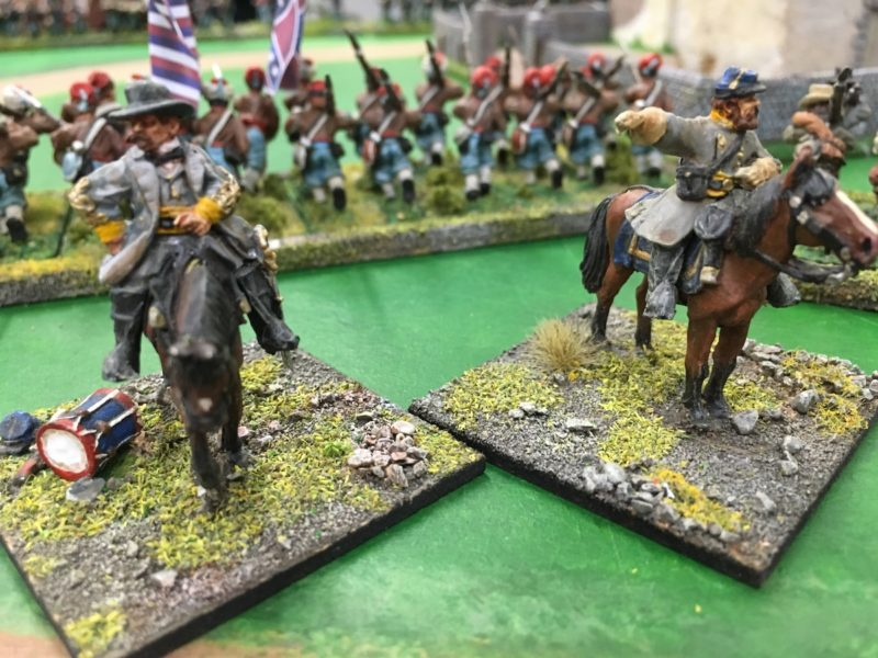 The Confederate commander urges the troops on the left to advance!