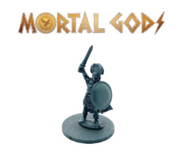 Greek Unarmoured Leader in Cloak with Sword Raised – Mortal Gods 28mm LE004