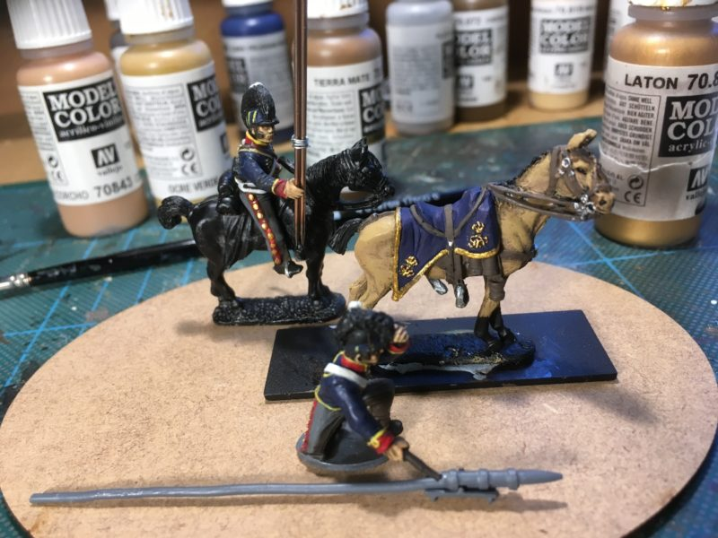 Officers horse colour blocked, awaiting ink wash.