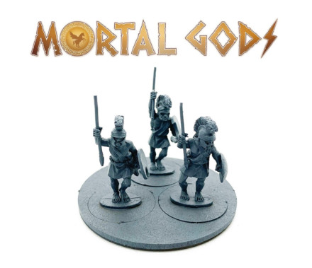 UNARMOURED Peltasts with Crested Helms 1- Mortal Gods 28mm LE106