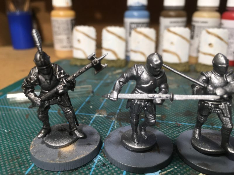 The foot knights on their temporary bases.