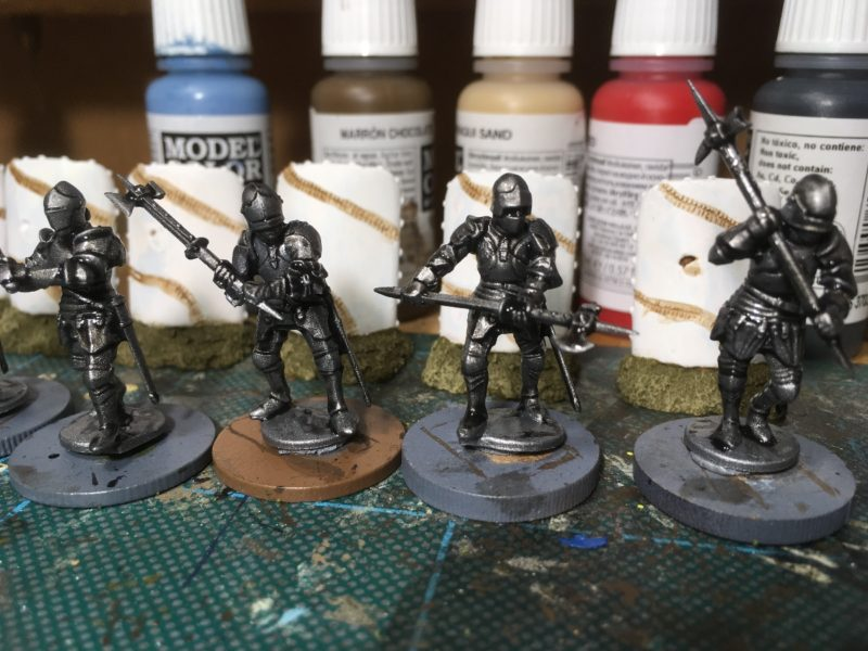 Foot Knights after washing with Dark Tone Ink.