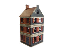 Dutch / Belgian SMALL THREE Storey Shop 28mm MDF Building F019 Sarissa Precision