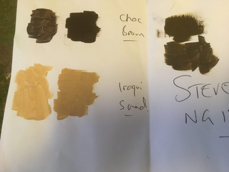Paint samples and the originals