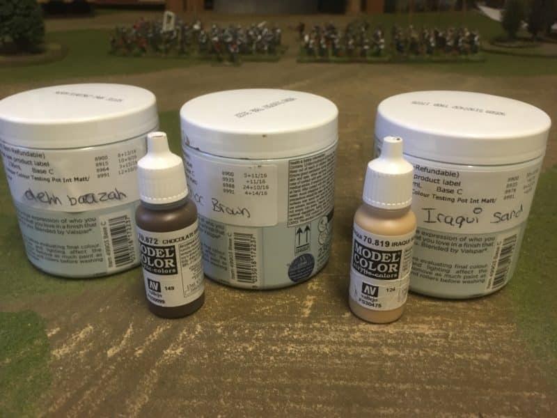 B&Q sample pots next to Vallejo for size comparison.