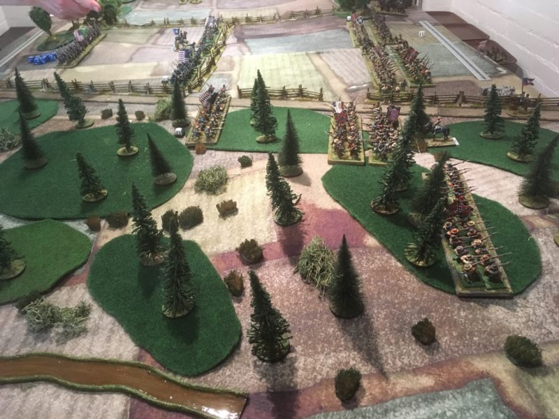 Initial Deployment, with Confederates advancing into Morgans Woods