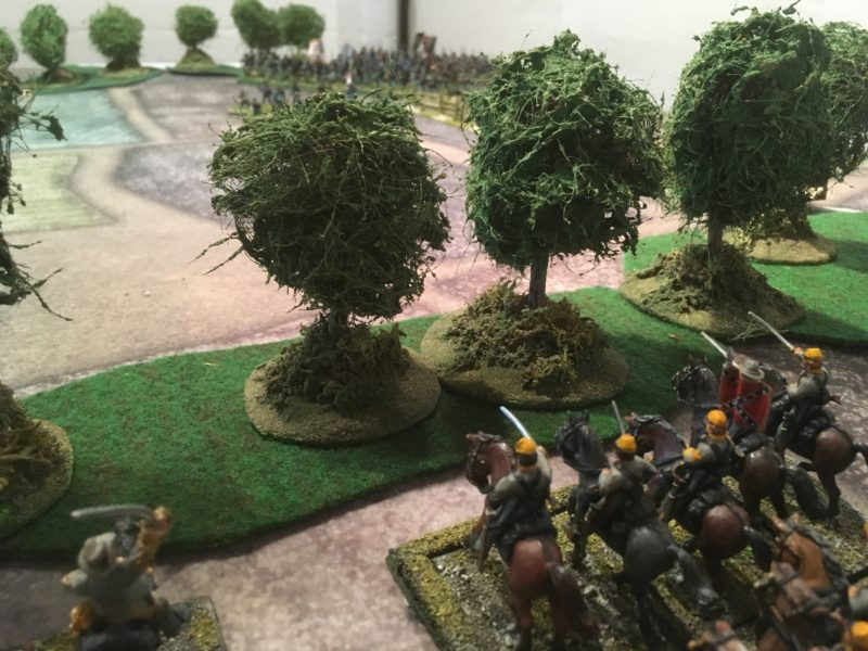 Confedrate Cavalry concealed behind the tree line.