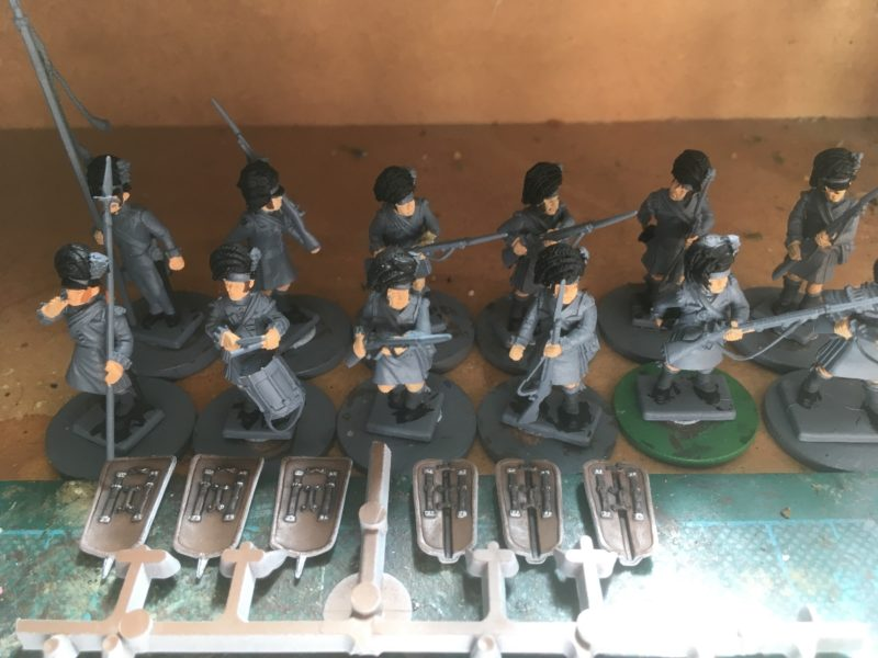 Batch paint on Black watch with pavises in the foreground