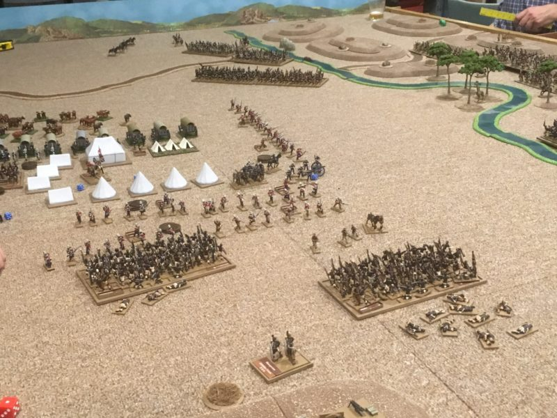 the Left horn charges into the British camp - in the background the right horn is advancing whilst the British are distacted!