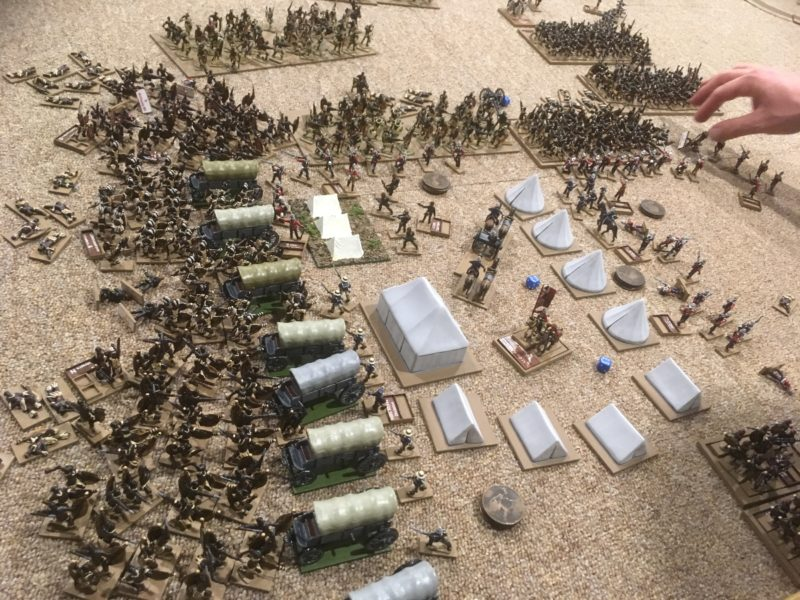 All is lost! The Zulus have broken through on the righ and more Warriors have arrived to overwhelm the centre. It's time to save the colours, Boys!