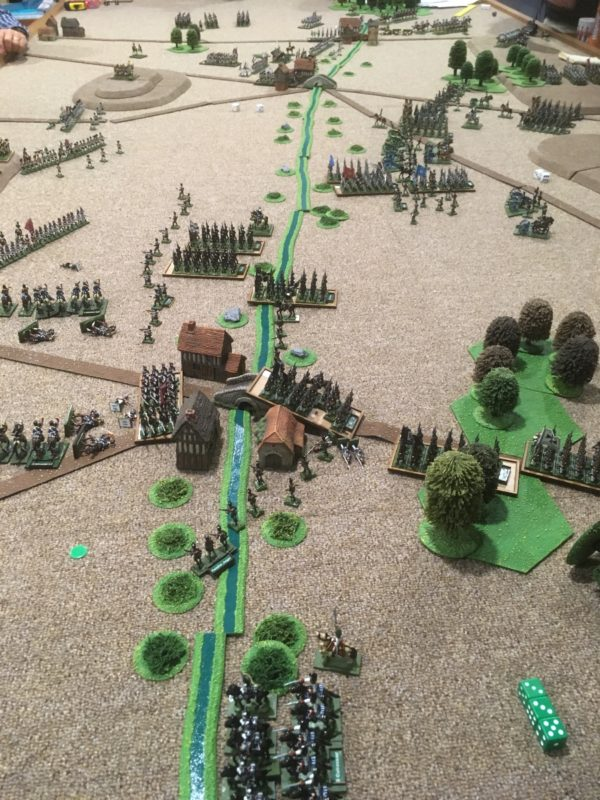 A decisive moment in the battle - the French are outflanked by Cavalry and the Prussian Infantry push them from the village holding their right flank.