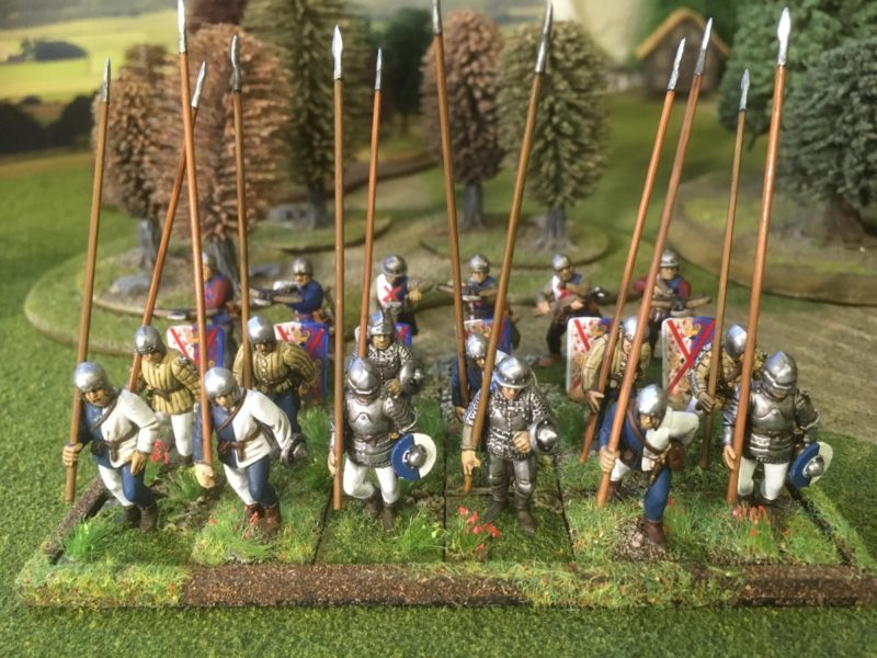 One unit of Pikemen ( Crossbow men in the background)