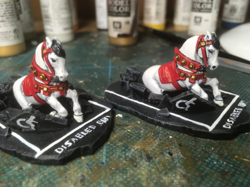 Completed horses on the bases