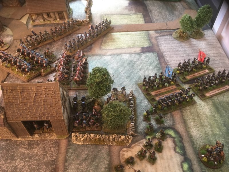 Prussians attempt to by-pass the tile factory, only to be met and contained by the French reinforcements
