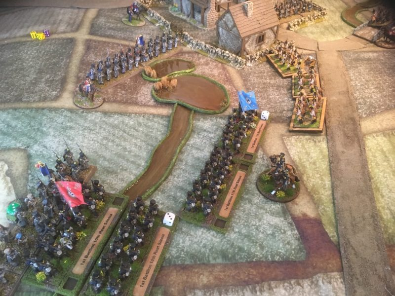 The Prussians fail to break the French in combat and are periously close to losing the brigade.