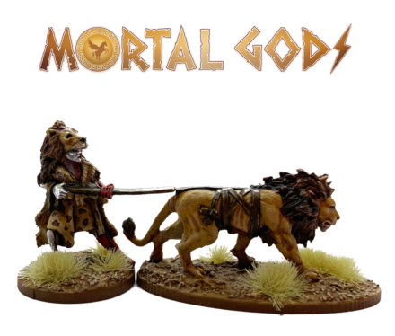 MORTAL GODS Kushite Priest of Apedemak and Lion (metal) 28mm MG065