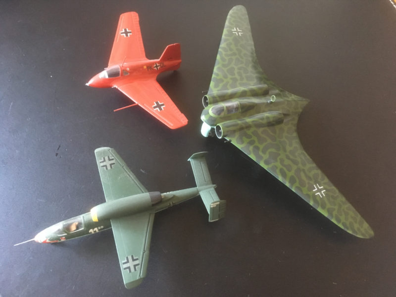 M163, Hs162 and Horton jet Bomber in 1/72nd scale.