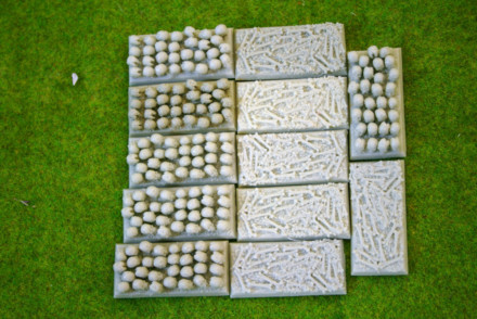 25mm x 50mm CAVALRY Resin Bases SKULLS and BONES pack of 12 for Fantasy of Sci-Fi RPG games