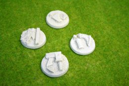 60mm round Resin Bases CITY RUINS pack of 4for Fantasy of Sci-Fi RPG games