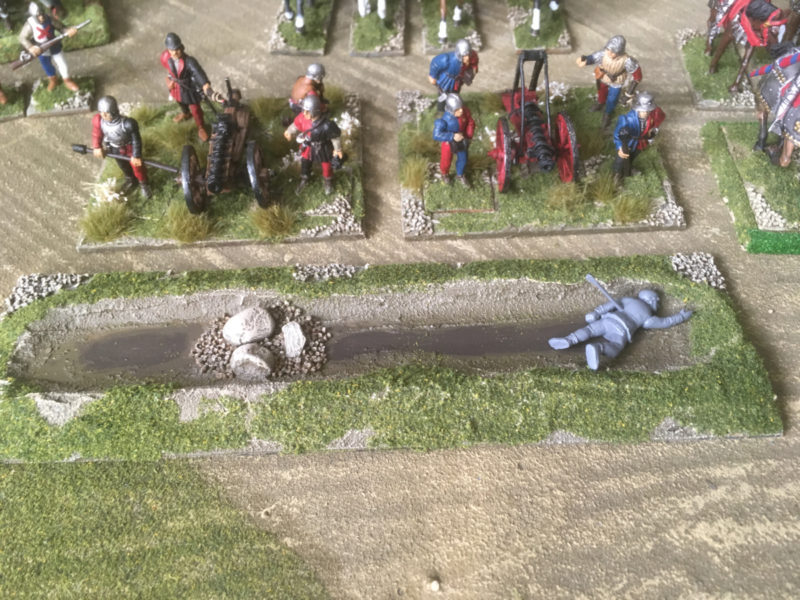 Casualty in ditch - scatter added to the banks