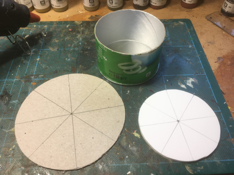 Circles cut out - note that I have marked out the centre and divided them into eight segments with pencil lines.