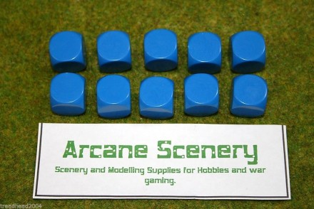 10 x 16mm BLANK SIX SIDED DICE BLUE wargames dice or casualty markers