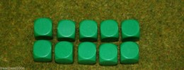 10 x 16mm BLANK SIX SIDED DICE GREEN wargames dice or casualty markers