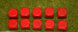 10 x 16mm BLANK SIX SIDED DICE RED wargames dice or casualty markers