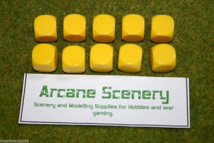 10 x 16mm BLANK SIX SIDED DICE YELLOW wargames dice or casualty markers
