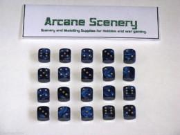 20 x 12mm DICE BLUE PEARL 6 gold spot Wargames dice