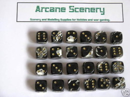 20 x 12mm DICE Black Marble