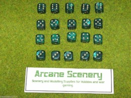 20 x 12mm DICE GREEN PEARL 6 gold spot Wargames dice