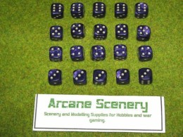 20 x 12mm DICE PURPLE PEARL 6 gold spot Wargames dice