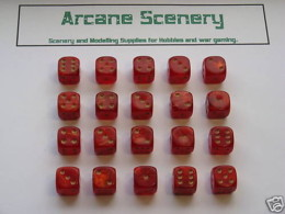 20 x 12mm DICE RED GOLD MIST 6 gold spot Wargames dice