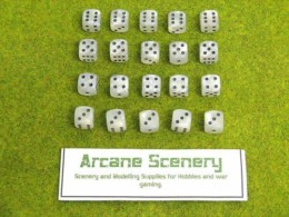 20 x 12mm DICE WHITE PEARL 6 spot Wargames dice