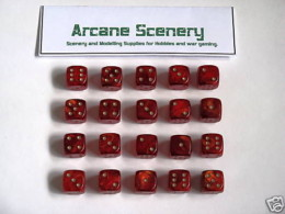 20 x 15mm DICE RED GOLD MIST 6 gold spot wargames dice