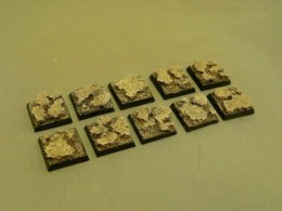 20mm x 20mm Square Resin Base Cracked Earth for Fantasy of Sci-Fi RPG games