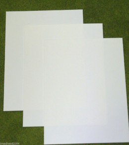 3 sheets of WHITE Plasticard 10/000 Terrain & Scenery