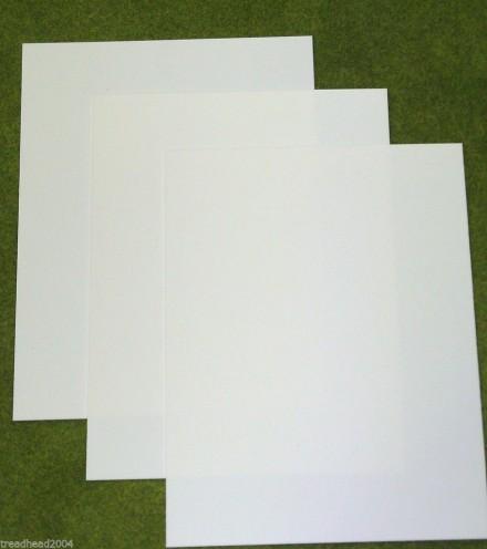 3 sheets of WHITE Plasticard 10/000 Terrain & Scenery