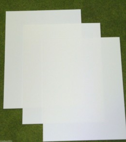 3 sheets of WHITE Plasticard 60/000 Terrain & Scenery