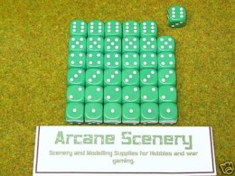 36 x 12mm GREEN DICE For Wargames & Games Workshop