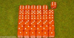 36 x 12mm ORANGE DICE For Wargames