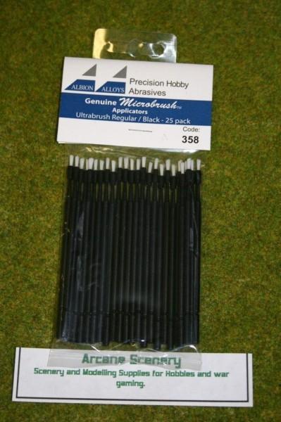 Albion Alloys Microbrush applicators – Ultrabrush Regular Black Pack of 25 358