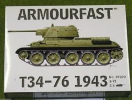 Armourfast T34/76 1943 x 2 WWII Tank 1/72 set 99022