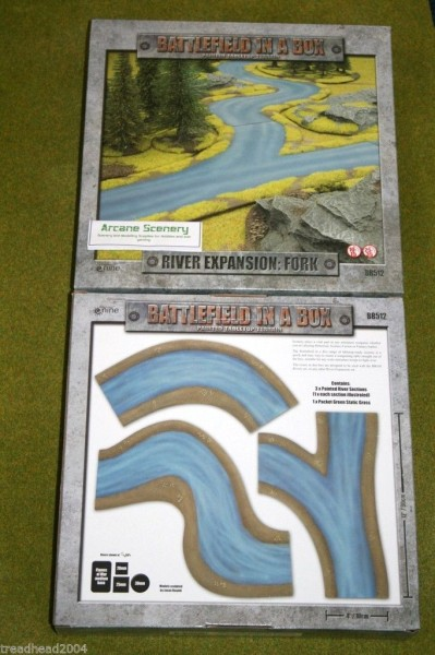 Battlefield in a Box RIVER EXPANSION FORK painted tabletop terrain 15mm to 28mm BB512