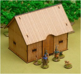 Dark Age TIMBER PLANKED BARN 28mm Laser cut MDF scale Building  J009